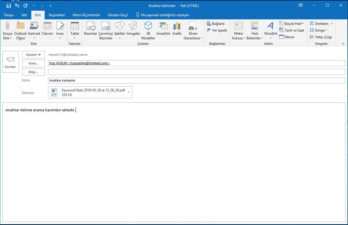 outlook uygulaması ile mail gönderme